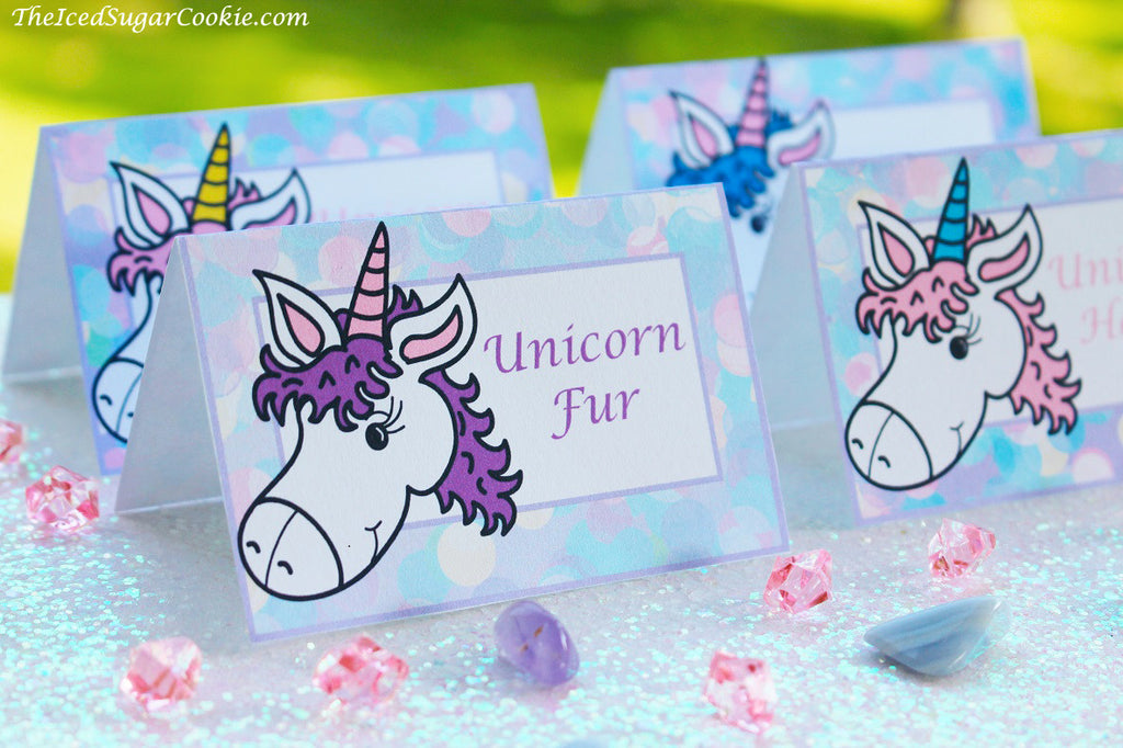 Unicorn Food Label Tent Cards-Digital Download