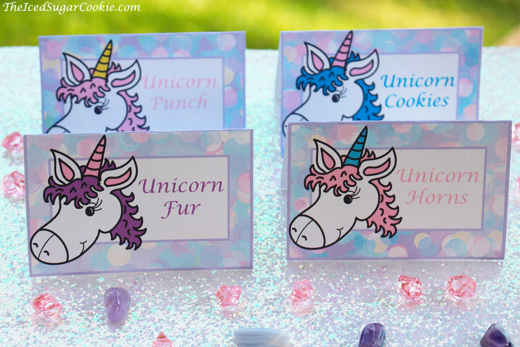 Unicorn Birthday Party Food Label Tent Cards-Unicorn Fur, Unicorn Cookies, Unicorn Punch, Unicorn Horns by The Iced Sugar Cookie-DIY Printable digital download for your Unicorn Birthday Party event by The Iced Sugar Cookie.