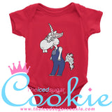 Unicorn Hillbilly Wearing Overalls Baby Infant Onesie Outfit by The Iced Sugar Cookie Clothing