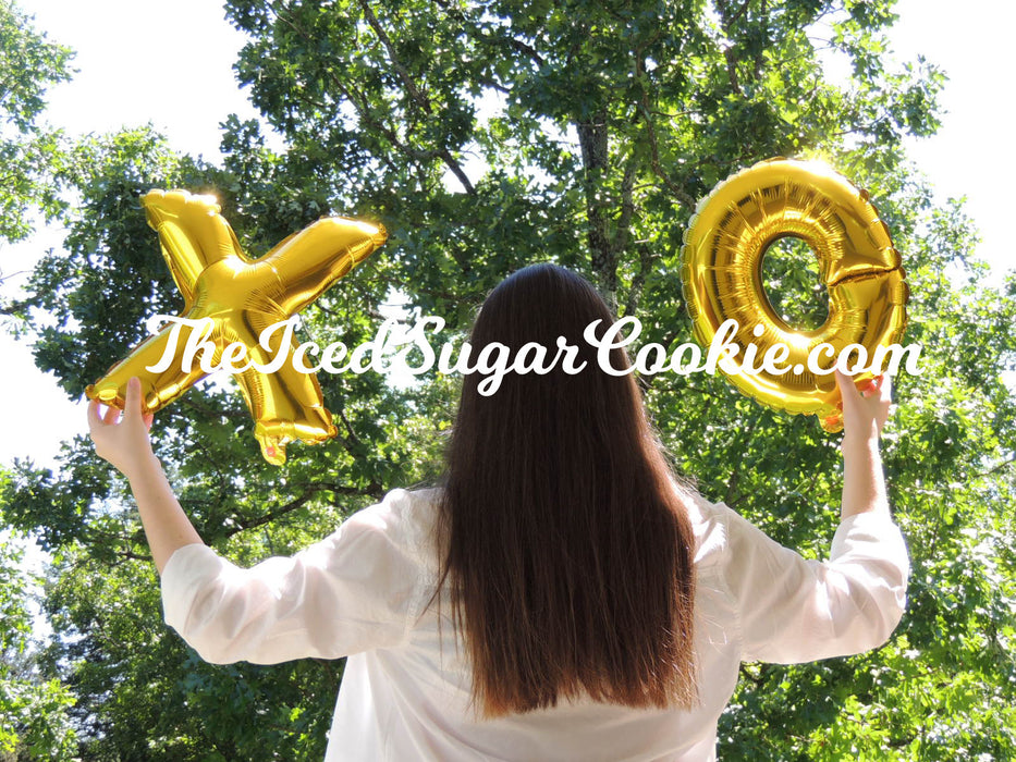 "X's And O's Gold Balloons ""Hugs And Kisses"" TheIcedSugarCookie.com"