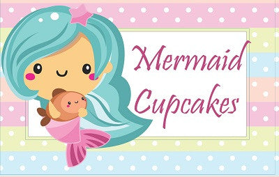 Mermaid Birthday Party Food Tent Cards Cupcake Toppers Flag Bunting Banner Garland Free Printable Template Pattern by The Iced Sugar Cookie Mermaid Cupcakes