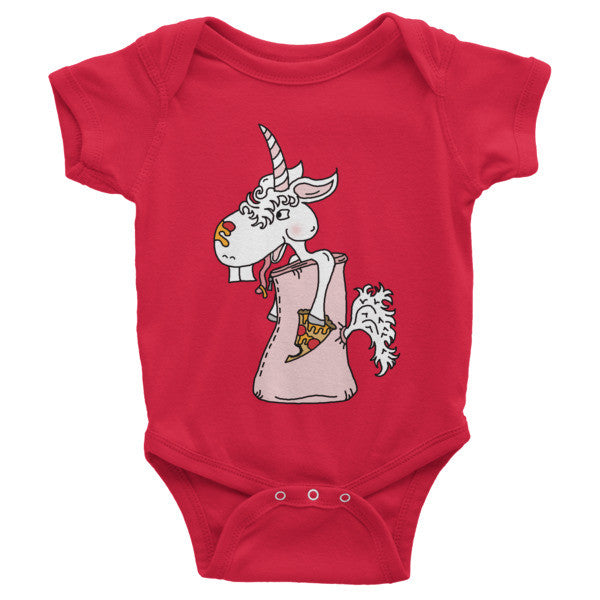 Unicorn Eating Pizza In A Sleeping Bag Baby Onesie Outfit by The Iced Sugar Cookie Clothing