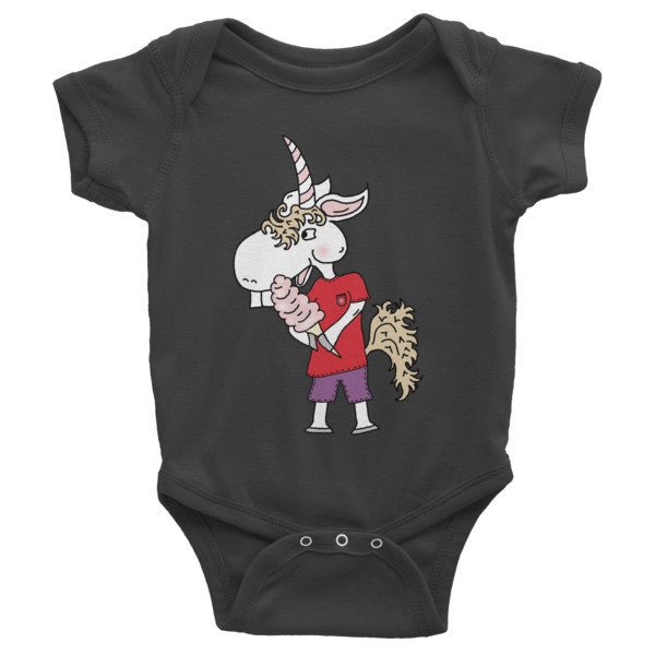 Unicorn Eating Cotton Candy Infant short sleeve one-piece Onesie by The Iced Sugar Cookie Clothing