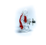 spiked bubble red swirl mini glass pin
