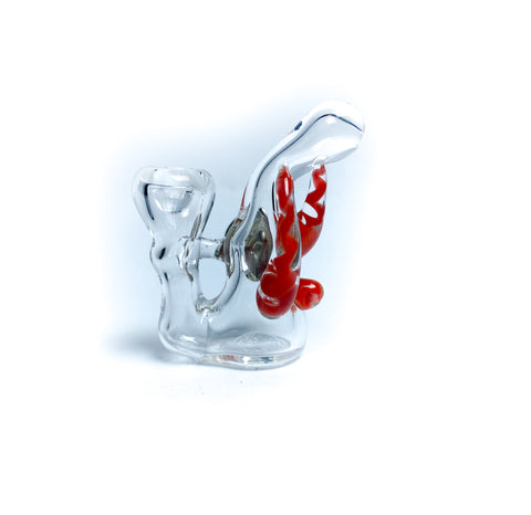 spiked bubble red mini glass pin