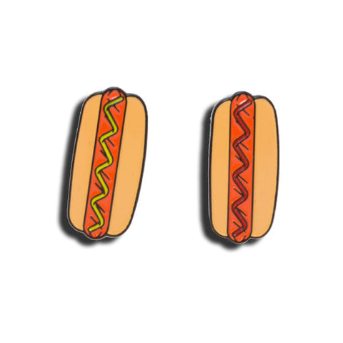 hot dog soft enamel pin
