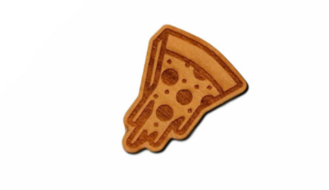 wooden pizza lapel pin