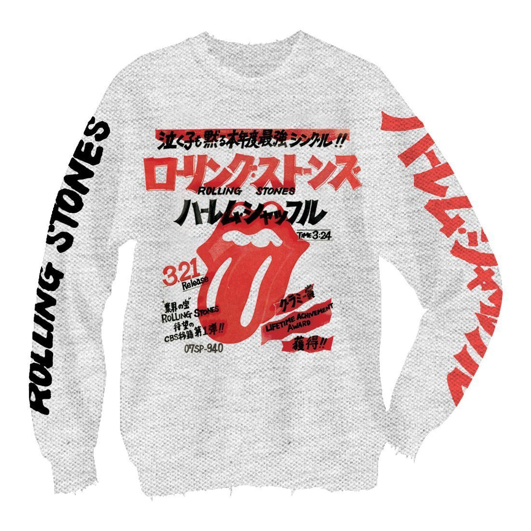 Rolling Stones Japanese Letters - Mens Heather Grey Crew Neck Fleece - New View Clothing