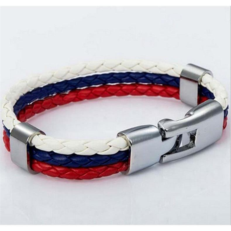World Cup National Flags Sports 3 Strands Rope Braided Surfer Leather Bracelets Women/Men Bracelets (8inch Long) - New View Clothing