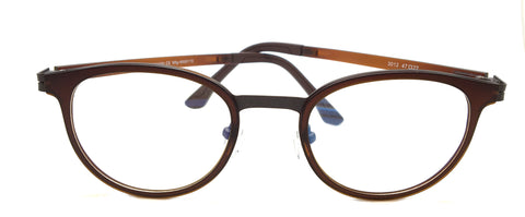 New Piovino Prescription Eyeglasses Soltax Hybrid Metal and Ultem PV 3012 Brown Round