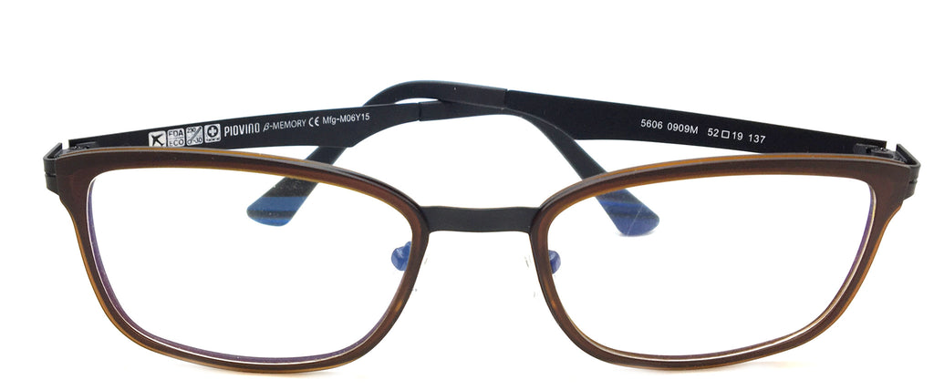 Piovino Prescription Eyeglasses Soltax Hybrid Metal and Ultem PV 5606 0909M Brown&Black