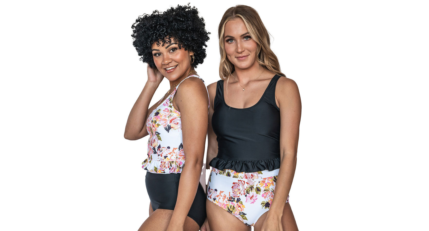 Newest 2021 Swim Collection - Newport Floral, Caramel Stripes & Solid Black