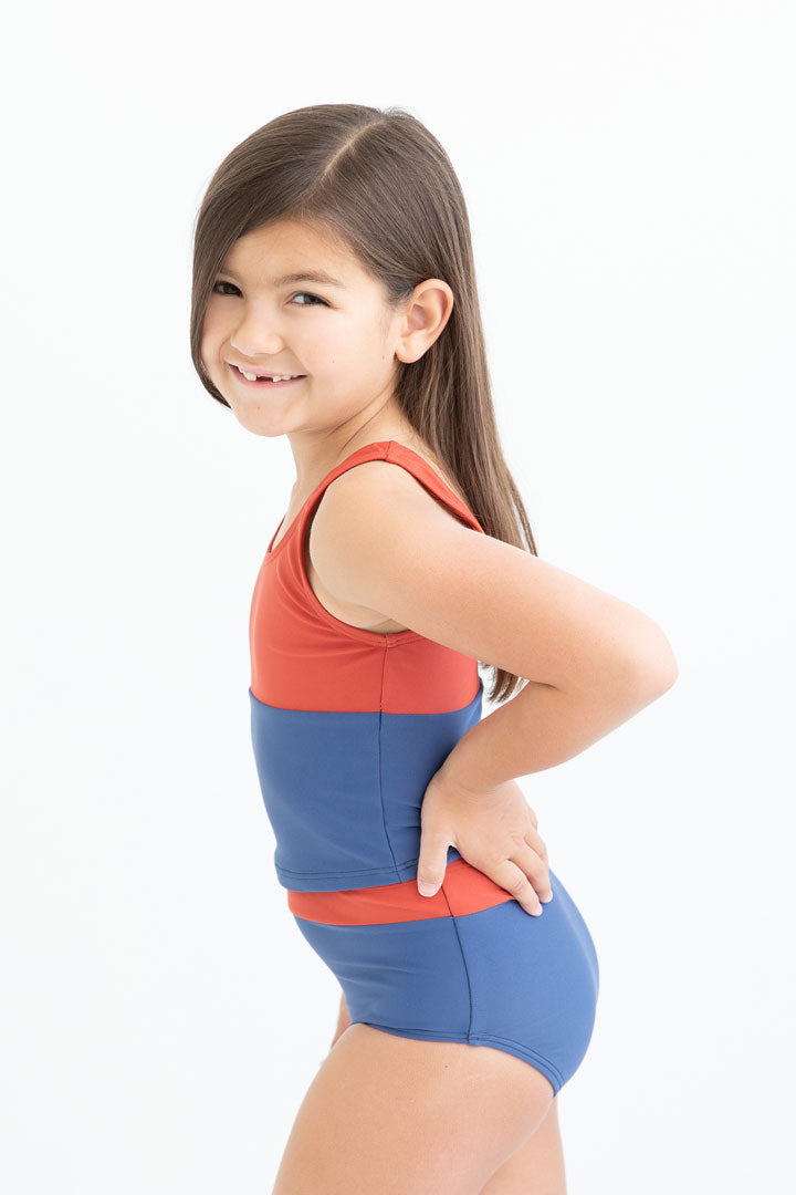 Rust & Matte Navy Scoop Neck Crop Top (Kids)
