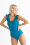 Dark Teal Ruffle Sleeve One Piece