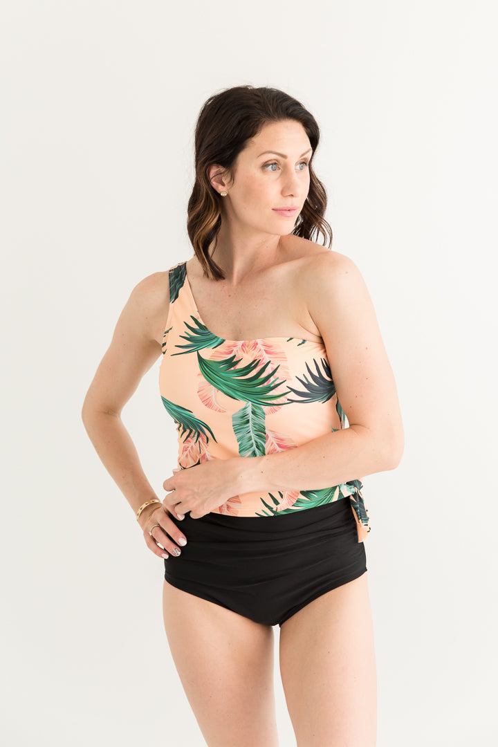 Peach Palm Single Shoulder Top