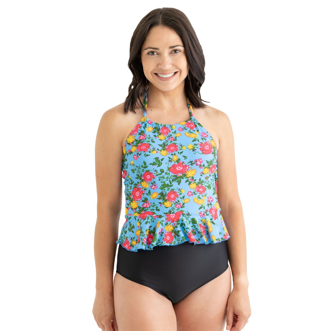 High Neck Peplum Tankini Top