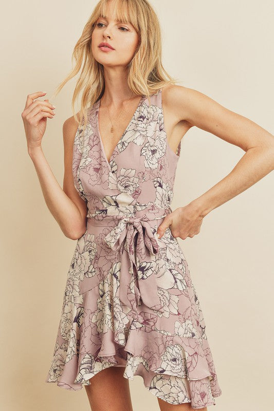 Floral Surplice Ruffled Mini Dress