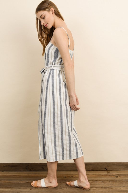 Striped Linen Midi Dress