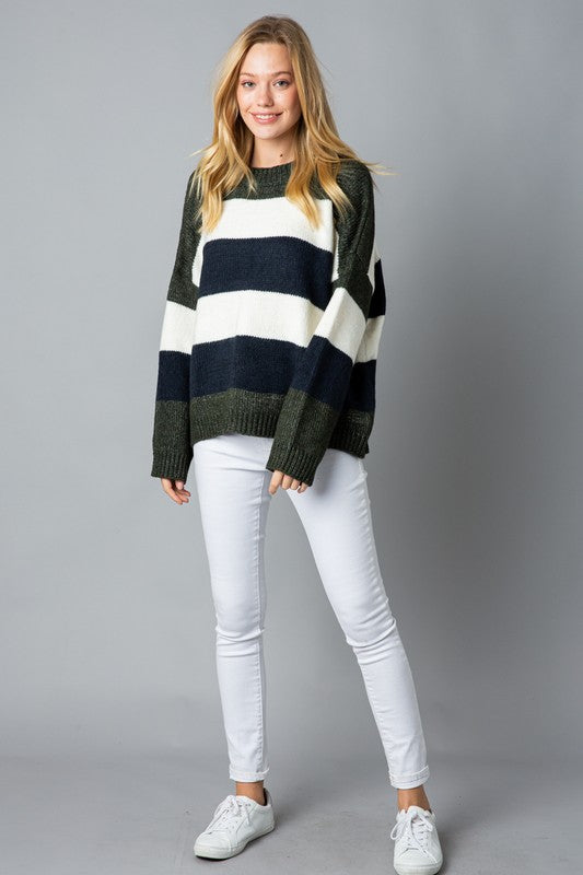 Striped Boxy Sweater -  ShopatGrace.com