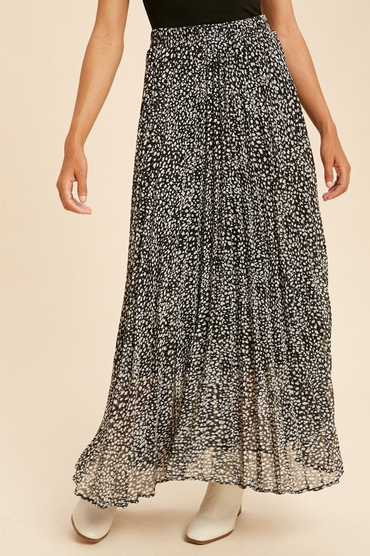 Leopard Pleated Maxi Skirt -  ShopatGrace.com