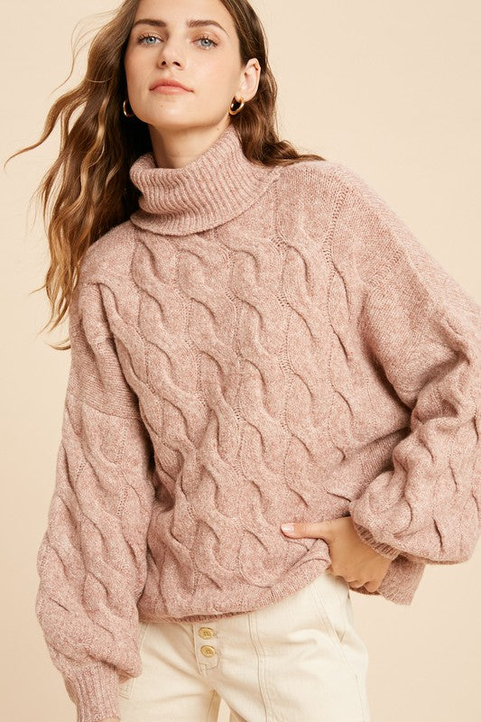Chunky Cable Knit Turtleneck Sweater -  ShopatGrace.com