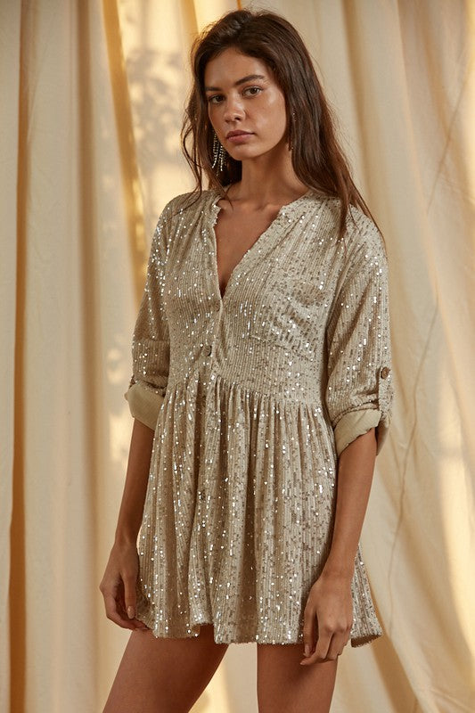 Sequin Button Down Babydoll -  ShopatGrace.com