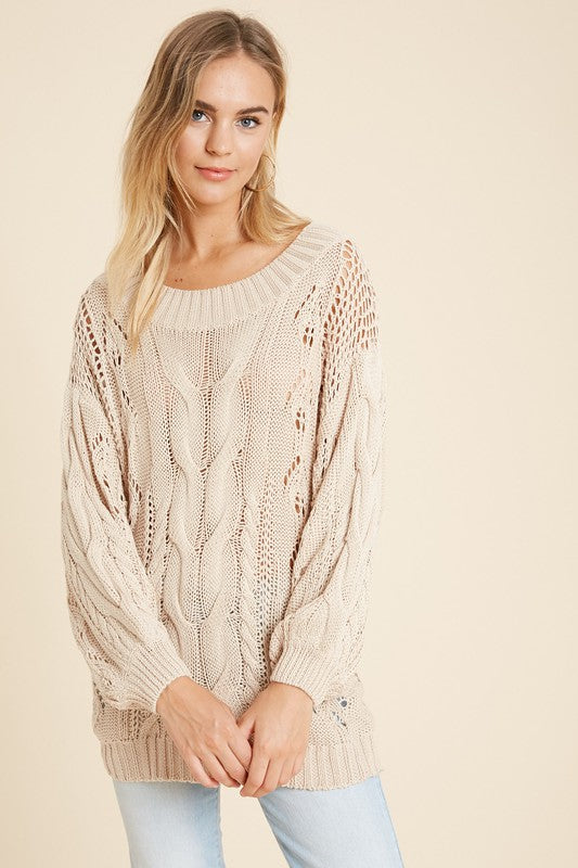 Pointelle Cable Knit Sweater -  ShopatGrace.com
