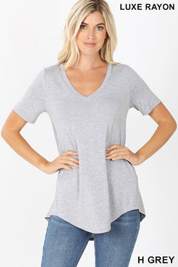 Luxe Short Sleeve V-Neck Hi-low Tee - S / HEATHER GREY ShopatGrace.com