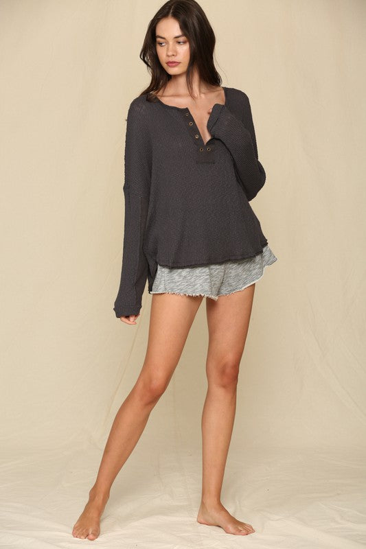 Long Sleeve Eyelet Rib Top -  ShopatGrace.com
