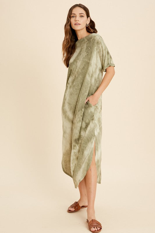 Tie Dye Boat Neck Midi Dress - SM / Olive ShopatGrace.com