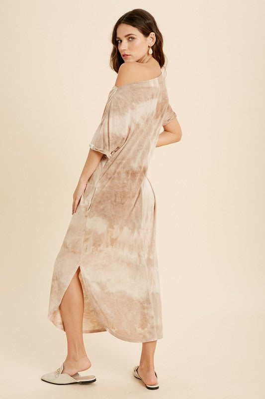 Tie Dye Boat Neck Midi Dress -  ShopatGrace.com