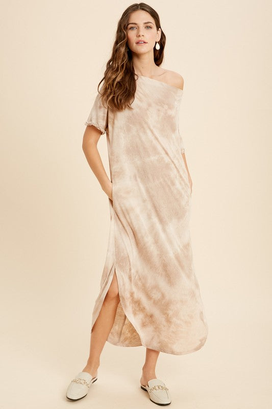 Tie Dye Boat Neck Midi Dress - SM / Milktea ShopatGrace.com