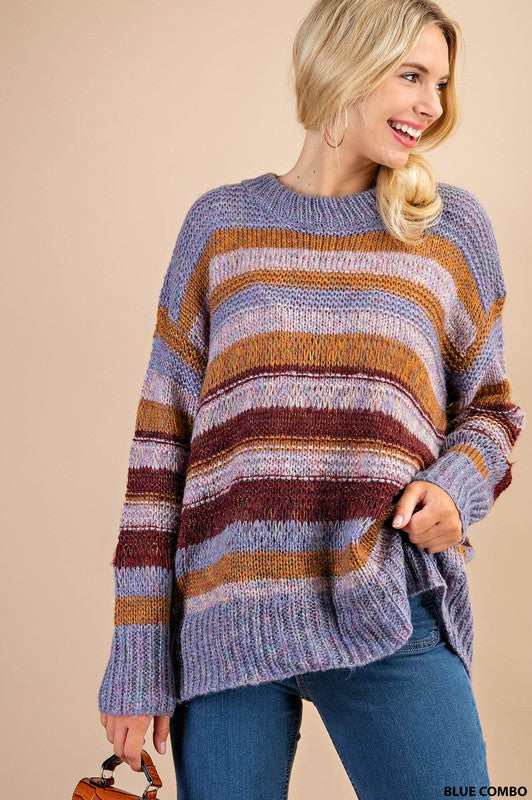 Multi Color Shine Stripe Sweater -  ShopatGrace.com