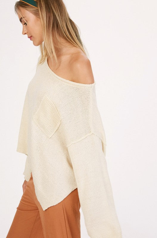 Off the Shoulder Knit Sweater -  ShopatGrace.com