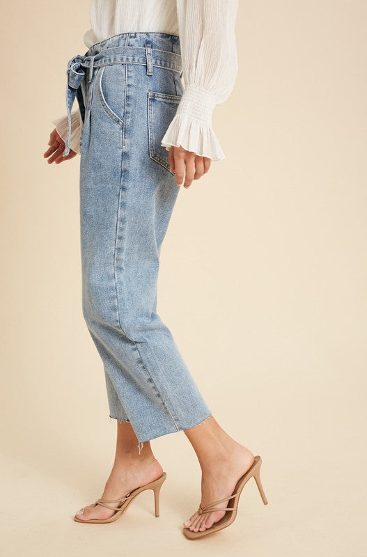 Belted Paperbag Denim Jeans -  ShopatGrace.com