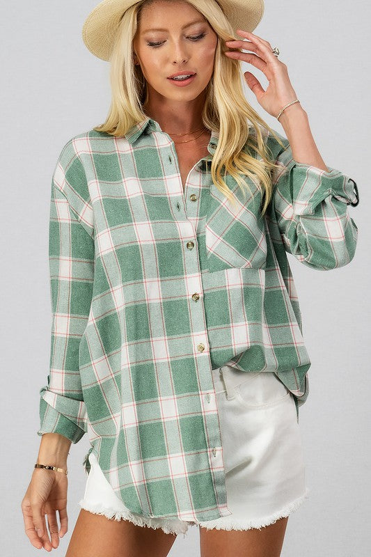 Plaid Button Down Shirt with Pocket - S / Green ShopatGrace.com