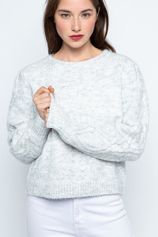 Puff Sleeve Cable Sweater - S / TWO TONE GREY ShopatGrace.com