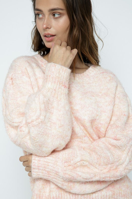 Puff Sleeve Cable Sweater - S / DEEP CORAL ShopatGrace.com