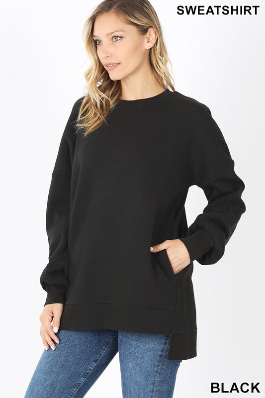 Round Neck High Low Sweatshirt - S / BLACK ShopatGrace.com