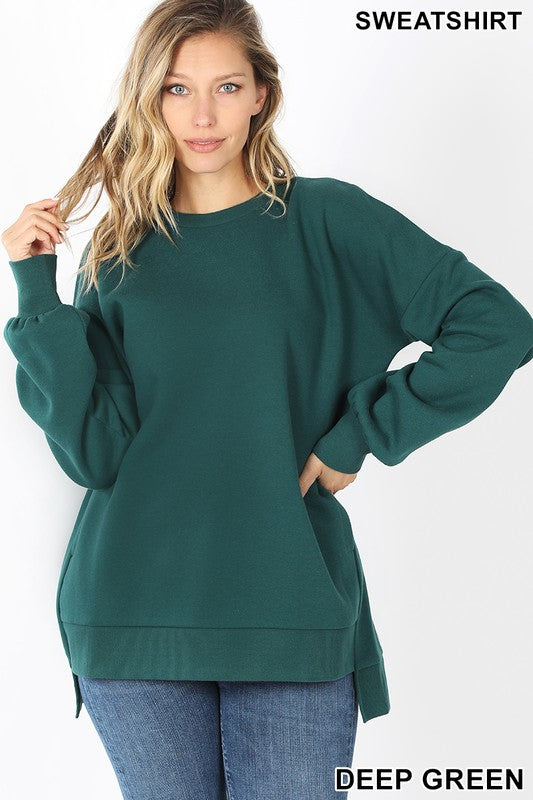Round Neck High Low Sweatshirt - S / DEEP GREEN ShopatGrace.com