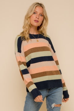 Multi Striped Sweater with Elbow Patch -  ShopatGrace.com