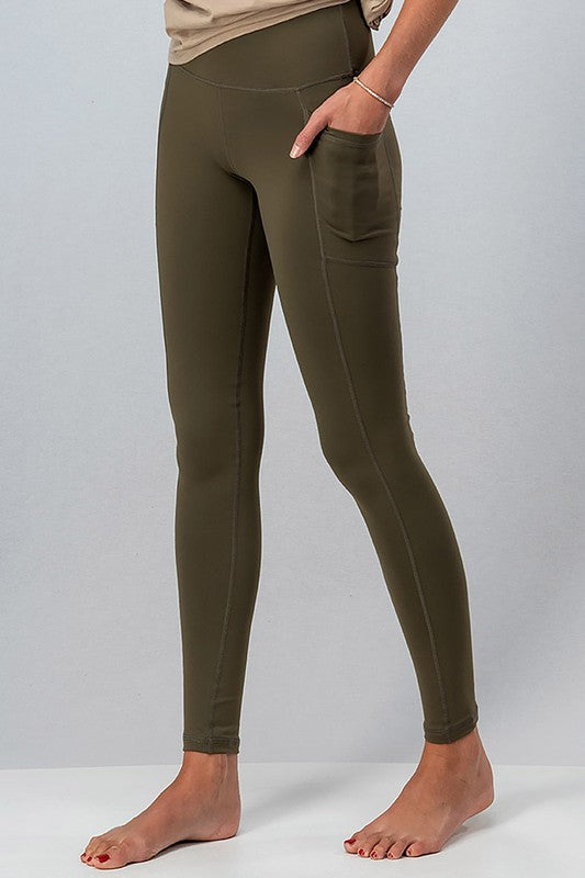 Everyday Side Pocket Leggings - S / Olive ShopatGrace.com