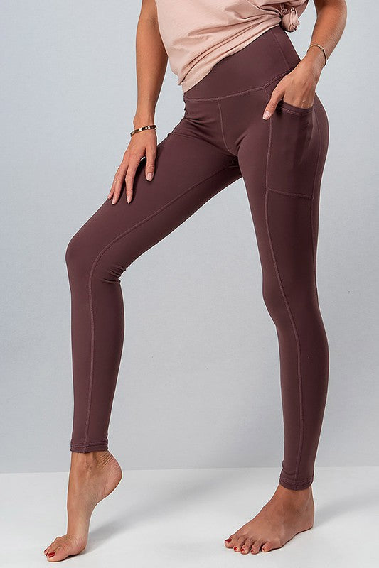 Everyday Side Pocket Leggings - S / Burgundy ShopatGrace.com