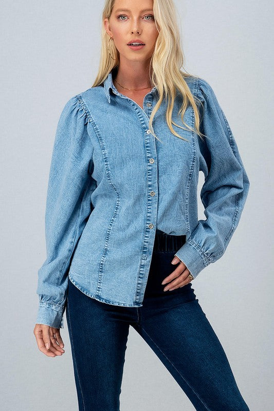 Denim Puff Sleeve Button Down -  ShopatGrace.com