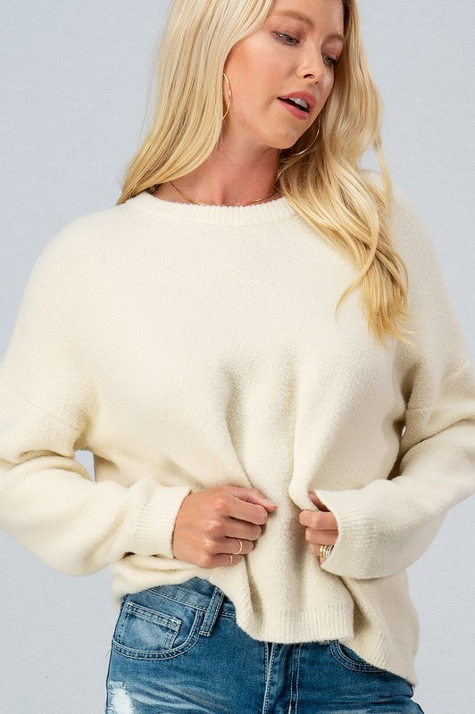 Super Soft Fuzzy Solid Crewneck Sweater - S / CREAM ShopatGrace.com