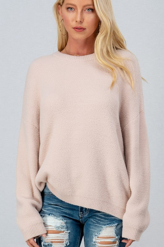 Super Soft Fuzzy Solid Crewneck Sweater - S / PINK ShopatGrace.com
