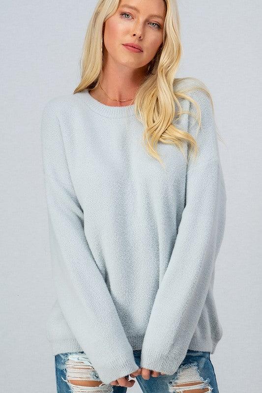Super Soft Fuzzy Solid Crewneck Sweater - S / SILVER ShopatGrace.com