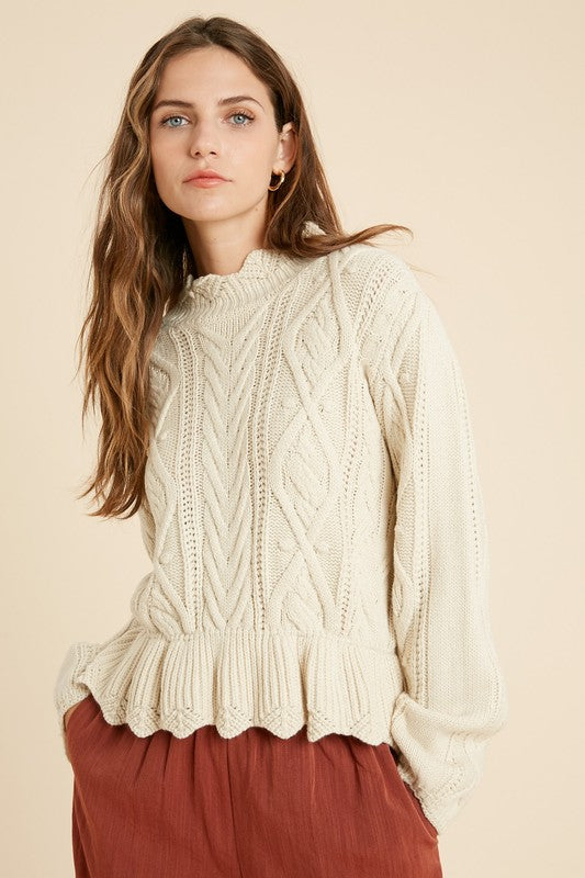 Scalloped Ruffle Hem Sweater -  ShopatGrace.com