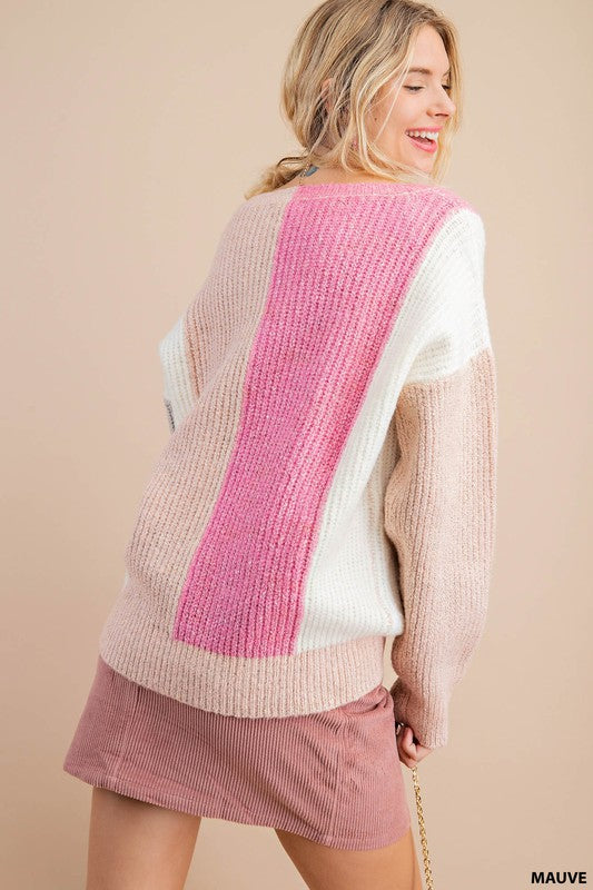 Ribbed Color Block Sweater -  ShopatGrace.com
