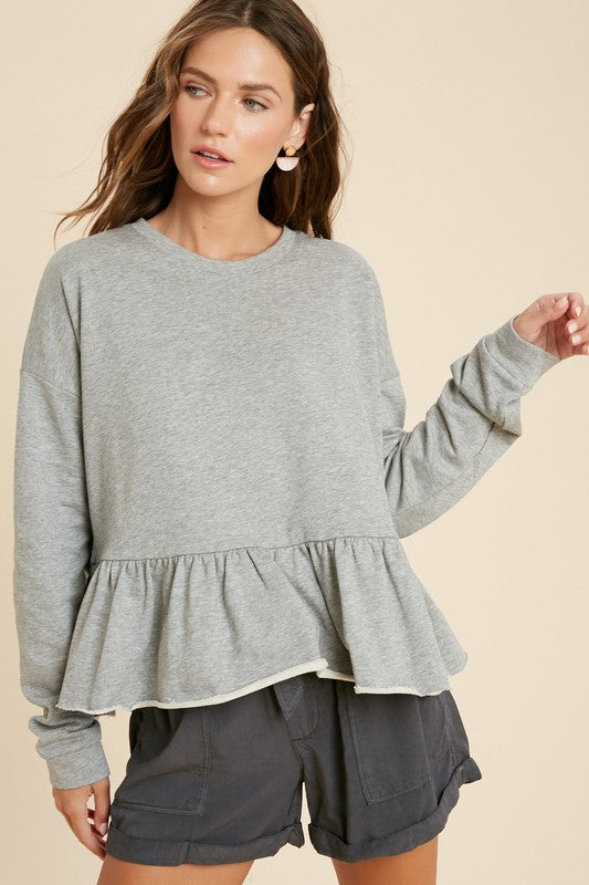 Peplum Sweatshirt Top -  ShopatGrace.com
